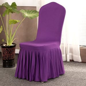 Purple Elastic Stretch Spandex Skirt Banquet Chair Covers for Wedding Party Banquet Event Restaurant