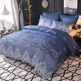 Microfiber Bedding Duvet Cover Sets Elegant Printed Pattern Soft Zipper Closure Corner Ties Blue