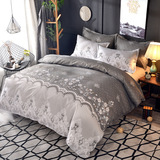 Microfiber Bedding Duvet Cover Sets Elegant Printed Pattern Zipper Closure Corner Ties Grey