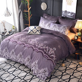 Microfiber Bedding Duvet Cover Sets Elegant Printed Pattern Soft Zipper Closure Corner Ties Purple