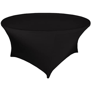 Black 60 Inch 5 Foot 5ft Round Stretch Spandex Tablecover Table Cover Tablecloth