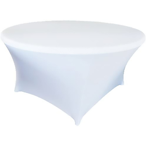 White 60 Inch 5 Foot 5ft Round Stretch Spandex Tablecover Table Cover Tablecloth