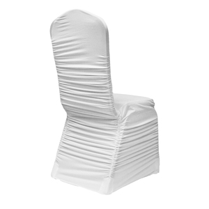 White Premium Ruched Elastic Stretch Spandex Banquet Chair Cover for Wedding Party Dining Event Rest