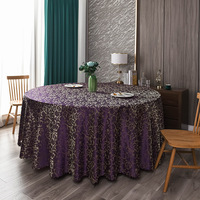 120inch Purple Elegant Damask Jacquard Tablecloth Polyester Fabric Table Cover for Dinning Wedding