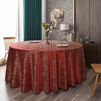 120inch Red Elegant Damask Jacquard Tablecloth Polyester Fabric Table Cover for Dinning Wedding
