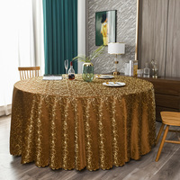 120inch Antique Gold Elegant Damask Jacquard Tablecloth Polyester Fabric Table Cover