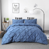 3 Piece Pinch Pleated Duvet Cover with Zipper Closure,Microfiber Pintuck Duvet Cover (Blue, Queen)