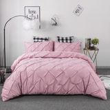 3 Piece Pinch Pleated Duvet Cover with Zipper Closure,Microfiber Pintuck Duvet Cover (Pink, King)