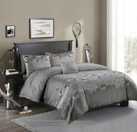 Microfiber Bedding Duvet Cover Sets Floral Printed Pattern Soft Zipper Closure Corner Ties Grey