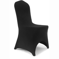 Black Arch Front Stretch Spandex Banquet Chair Cover for Wedding Party Dining Banquet Event