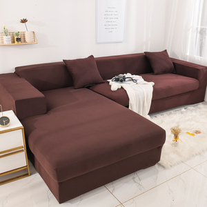 Brushed Stretch Sectional Couch Covers Soft L-Shaped Sofa Slipcovers with Elastic Bottom Chocolate