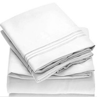 White Bed Sheet Set With Embroidery Brushed Microfiber Bedding Flat Sheet Fitted Sheet 4 Piece