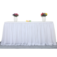 6ft White Tulle Table Skirt for Rectangle or Round Table Tutu Table Skirt Decoration Table Cloth