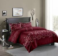 Microfiber Bedding Duvet Cover Sets Floral Printed Pattern Soft Zipper Closure Corner Ties Burgundy