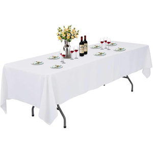 "60""x126"" Premium Tablecloth for Wedding/Banquet/Restaurant - Polyester Fabric Table Cloth - White"