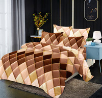 Microfiber Bedding Duvet Cover Sets Gradients Diamond Printed Pattern Soft Zipper Closure Brown