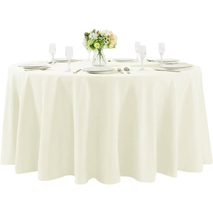 "120""Round Premium Tablecloth for Wedding/Banquet/Restaurant- Polyester Fabric Table Cloth Ivory"