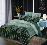 Microfiber Bedding Duvet Cover Sets Modern Printed Pattern Soft Zipper Closure Corner Ties Green