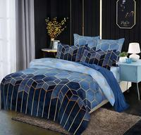 Microfiber Bedding Duvet Cover Sets Modern Printed Pattern Soft Zipper Closure Corner Ties Blue