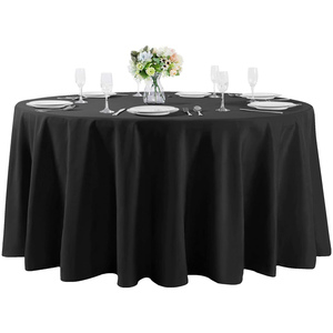 "120""Round Premium Tablecloth for Wedding/Banquet/Restaurant- Polyester Fabric Table Cloth Black"