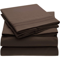 Brown Bed Sheet Set With Embroidery Brushed Microfiber Bedding Flat Sheet Fitted Sheet 4 Piece