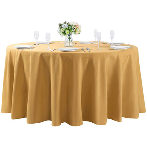 "120""Round Premium Tablecloth for Wedding/Banquet/Restaurant- Polyester Fabric Table Cloth Gold"
