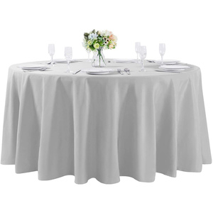 "120""Round Premium Tablecloth for Wedding/Banquet/Restaurant- Polyester Table Cloth Silver"