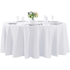 "132""Round Premium Tablecloth for Wedding/Banquet/Restaurant- Polyester Fabric Table Cloth White(1)"