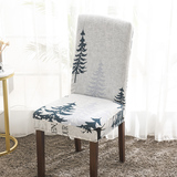 White Printed Stretch Dining Room Chair Covers Soft Removable Dining Chair Slipcover