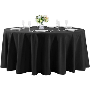 "132""Round Premium Tablecloth for Wedding/Banquet/Restaurant- Polyester Fabric Table Cloth Black"