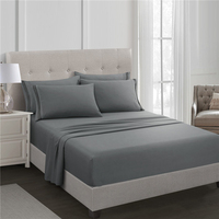 Grey Fitted Sheet Set Bed Sheet Set Brushed Microfiber Bedding 3 Piece
