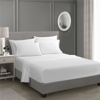 White Fitted Sheet Set Bed Sheet Set Brushed Microfiber Bedding 3Piece
