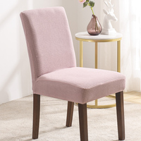Pink Velvet Jacquard Stretch Dining Room Chair Covers Soft Removable Dining Chair Slipcover