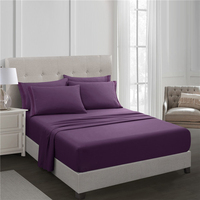 Purple Fitted Sheet Set Bed Sheet Set Brushed Microfiber Bedding 3 Piece