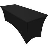 8ft Stretch Elastic Rectangle Tablecloth - Spandex Table Cover for Event & Parties - (8 Feet, Black)