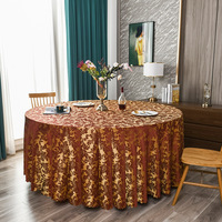 120inch Red Damask Jacquard Tablecloth Polyester Fabric Table Cover for Kitchen Dinning Wedding