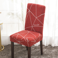 Red Printed Stretch Dining Room Chair Covers Soft Removable Dining Chair Slipcover
