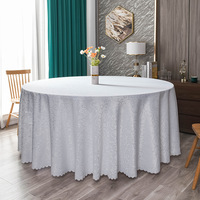 White Damask Jacquard Swirl Pattern Polyester Tablecloths Fabric Table Cover  for hotel,wedding