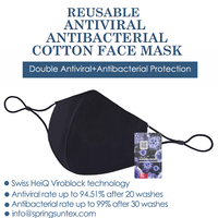 Black Reusable Washable Antiviral Antibacterial Cotton Knitted Unisex Protective Fashion Face Masks