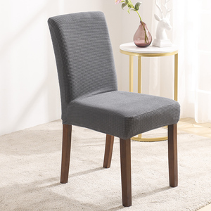 Grey Velvet Stretch Dining Room Chair Covers Soft Removable Dining Chair Slipcover