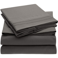 Grey Bed Sheet Set With Embroidery Brushed Microfiber Bedding Flat Sheet Fitted Sheet 4 Piece