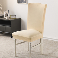 Ivory Stretch Dining Room Chair Covers Soft Removable Dining Chair Slipcover