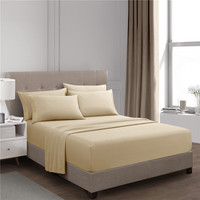 Beige Fitted Sheet Set Bed Sheet Set Brushed Microfiber Bedding 3 Piece
