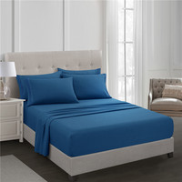 Blue Fitted Sheet Set Bed Sheet Set Brushed Microfiber Bedding 3 Piece