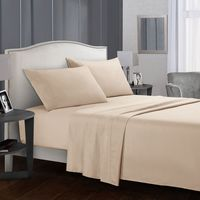 Bedding Bed Sheet Set - 4 Piece Queen Bedding - Soft Brushed Microfiber Fabric Queen Beige