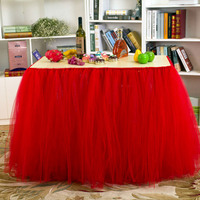 Red Tutu Table Skirt Fluffy Tulle Table Skirting Cover for Party, Baby Shower, Birthday, Wedding