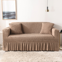 Seersucker Sofa Slipcover Sofa Cover with Skirt Universal Stretch Sofa Couch Slipcover Oatmeal