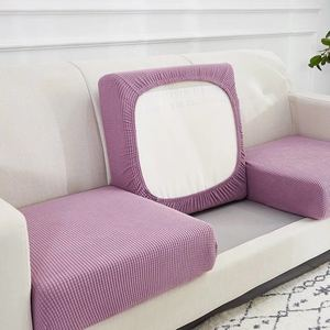 High Stretch Velvet Jacquard Seat Cushion Cover Sofa Cushion Furniture Protector Lavender