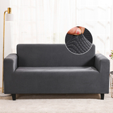 Stretch Velvet Sofa Slipcover Couch Sofa Cover Furniture Protector with Elastic Bottom Grey