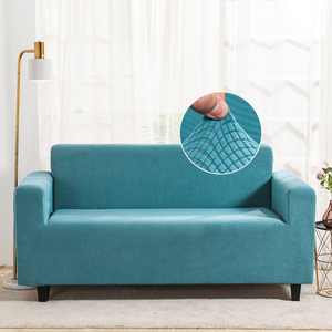 Stretch Velvet Sofa Slipcover Couch Sofa Cover Furniture Protector with Elastic Bottom Turquoise